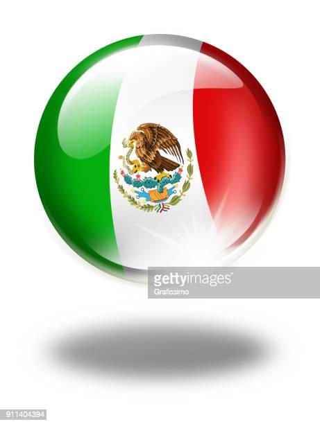 Botón de México con la bandera mexicana, aislado en blanco