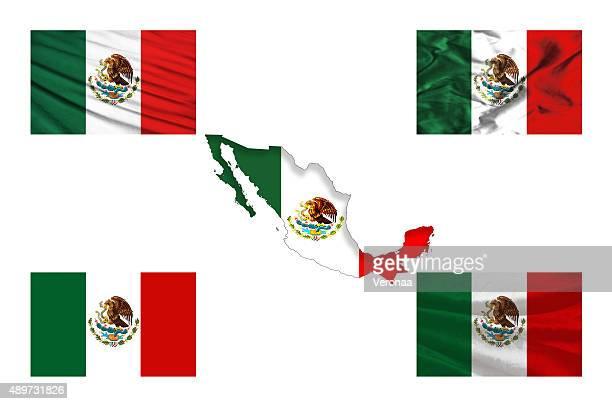 Mapa de México con banderas