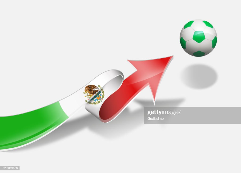 Mexico Mexican Flag With Arrow Upwards Soccer Ball Stock