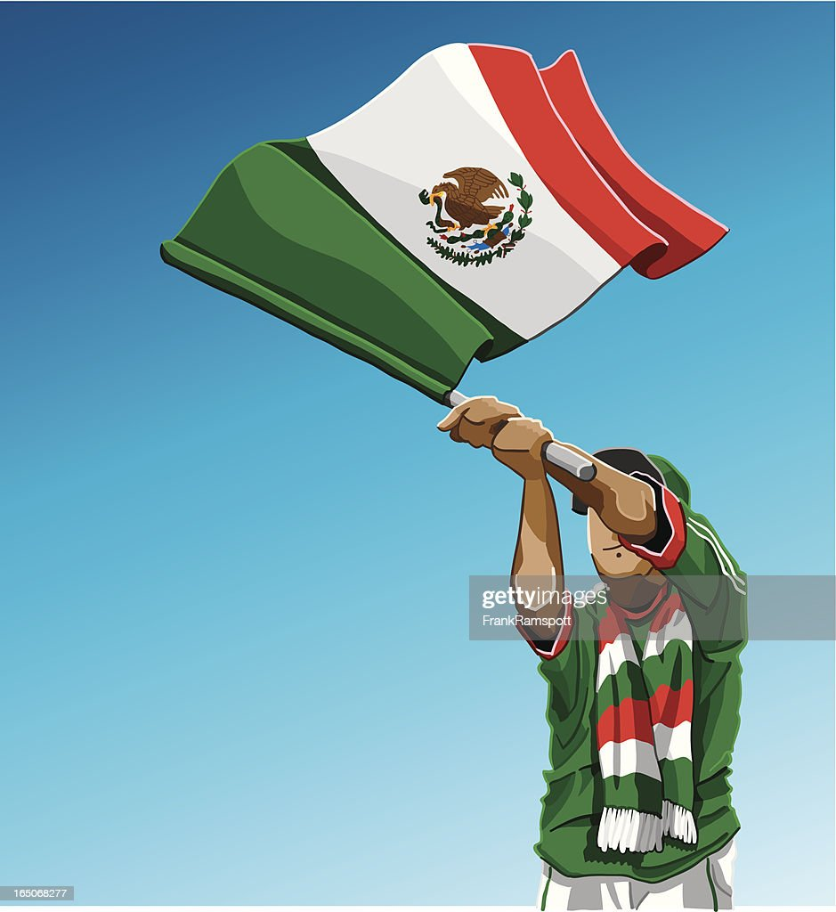 Mexico Waving Flag Soccer Fan : stock illustration