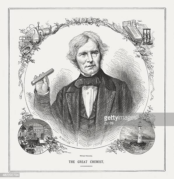 illustrazioni stock, clip art, cartoni animati e icone di tendenza di michael faraday (1791-1867), inglese scienziato, pubblicata nel 1873 - elettromagnetismo
