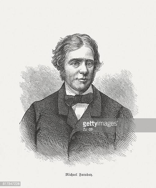 michael faraday (1791 - 1867), wood engraving, published in 1873 - michael faraday stock illustrations, clip art, cartoons, & icons