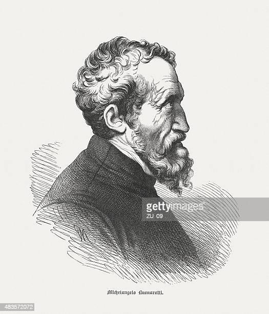 michelangelo buonarroti (italian universal artist), published in 1878 - high renaissance stock illustrations