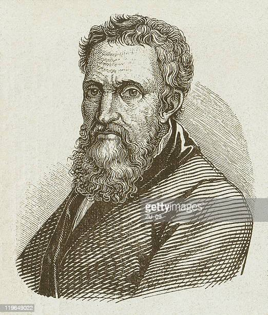 Michelangelo Buonarroti (1475-1564), wood engraving, published in 1877