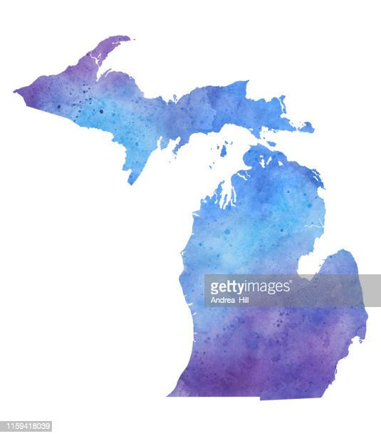 michigan watercolor raster map illustration - michigan stock illustrations