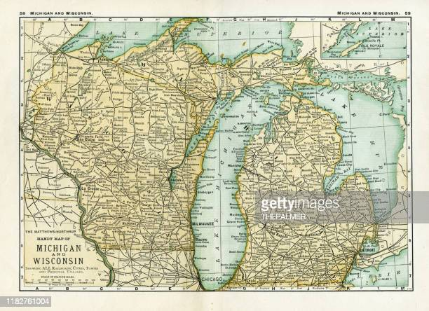michigan wisconsin map 1898 - michigan stock illustrations