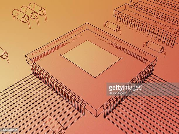 microchip - medium group of objects stock illustrations, clip art, cartoons, & icons