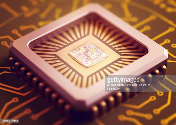 ilustrações, clipart, desenhos animados e ícones de microchip, illustration - chip de computador