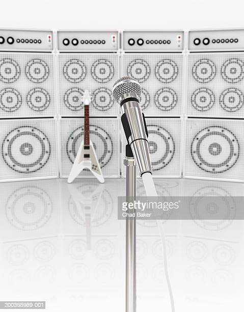 microphone, electric guitar and stack of amplifiers (digital) - stack stock illustrations