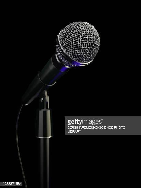 microphone, illustration - black background stock illustrations