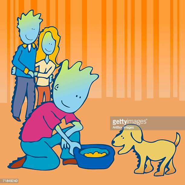 mid adult couple looking at their son offering food to a dog - dog bowl stock illustrations, clip art, cartoons, & icons