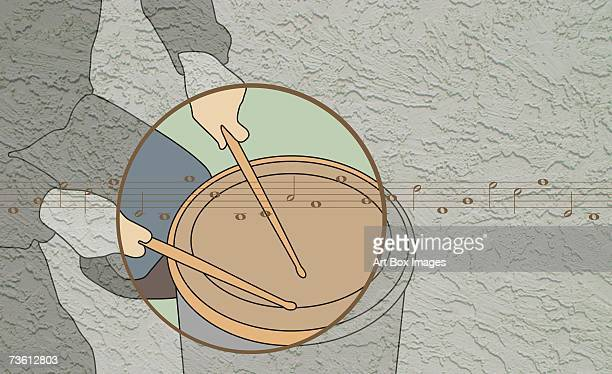 mid section view of a person playing a snare drum - snare drum stock illustrations, clip art, cartoons, & icons
