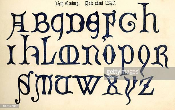 mid-14th century alphabet - circa 14th century stock illustrations