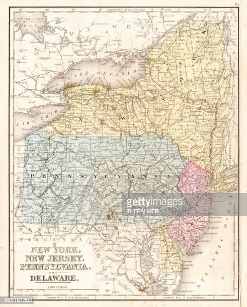 MId-atlantic states usa map 1867