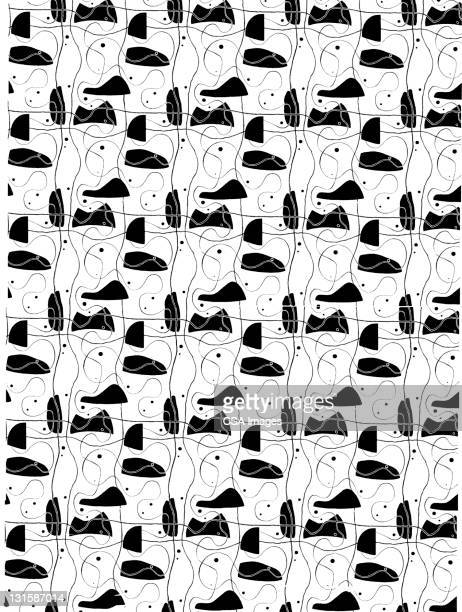 mid-century abstract pattern - black and white stock illustrations, clip art, cartoons, & icons