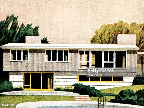 mid-century home - ranch stock illustrations