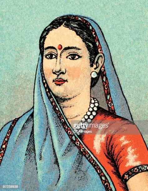 middle eastern woman - bindi stock illustrations