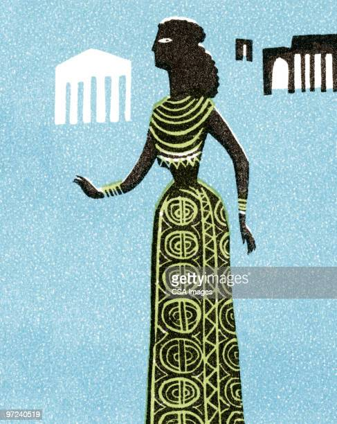 middle eastern woman - greek culture stock illustrations