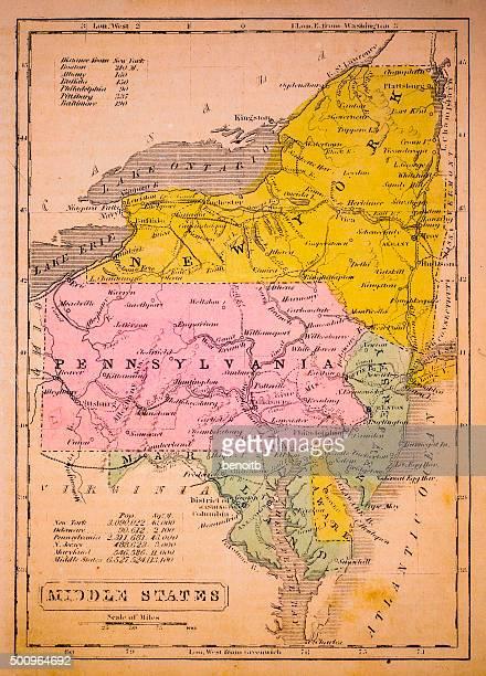 ilustraciones, imágenes clip art, dibujos animados e iconos de stock de medio 1852 mapa estados - maryland us state