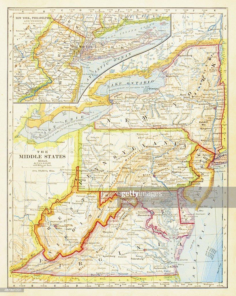 1883 médio mapa de Estados : Ilustração de stock