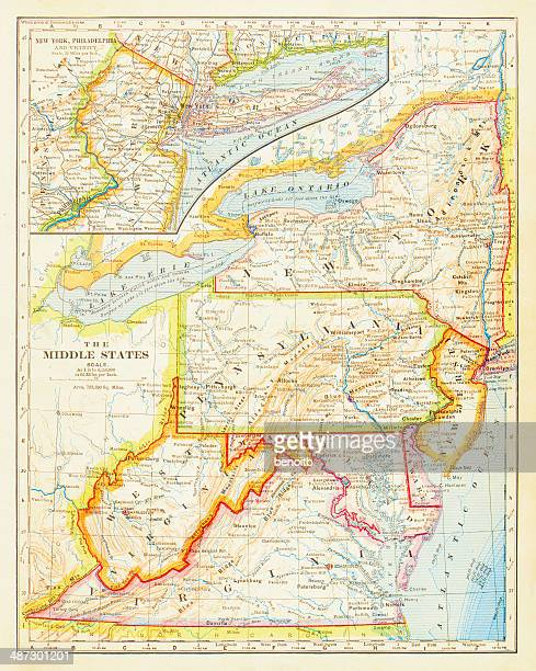 1883 middle states map - lake ontario stock illustrations, clip art, cartoons, & icons