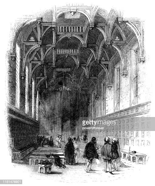 middle temple hall in london, england - 16th century - ellis island stock illustrations, clip art, cartoons, & icons