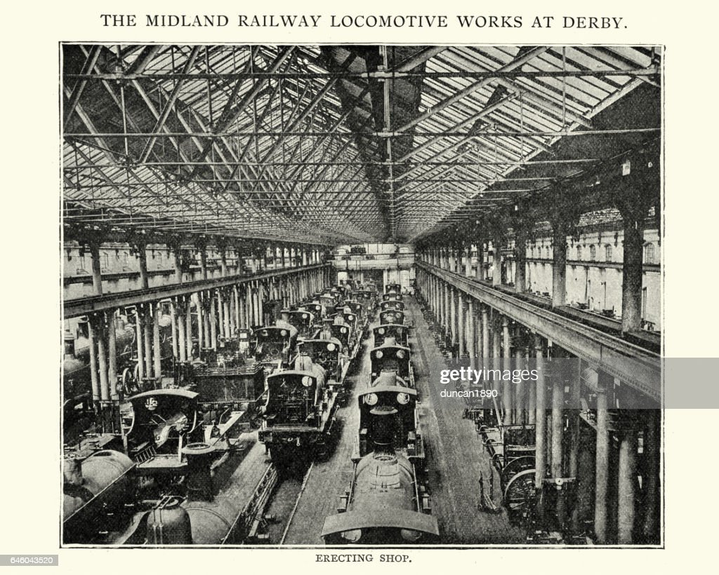 Midland railway locomotive works at Derby, 1892 : stock illustration