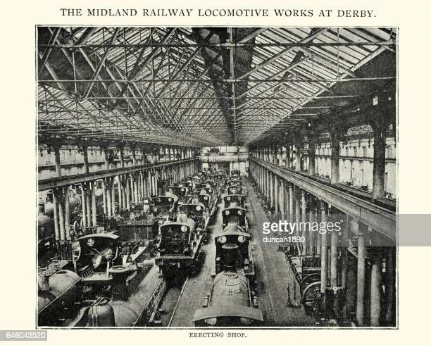 midland railway locomotive works at derby, 1892 - industrial revolution stock illustrations