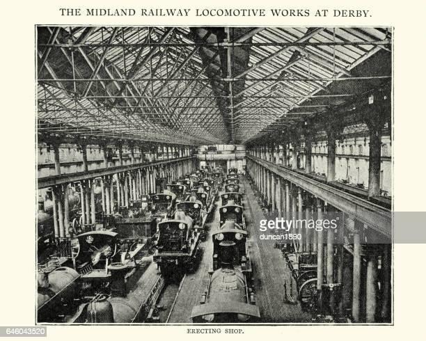 ミッドランド鉄道機関車の勤めるダービー、1892 - 1890~1899年点のイラスト素材/クリップアート素材/マンガ素材/アイコン素材