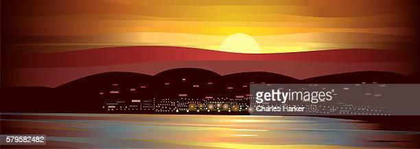 Midnight Sun Landscape Illustration with harbor, village, mountains