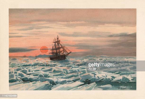 midnight sun. sailing ship in the floating ice, lithograph, 1898 - nostalgia stock illustrations