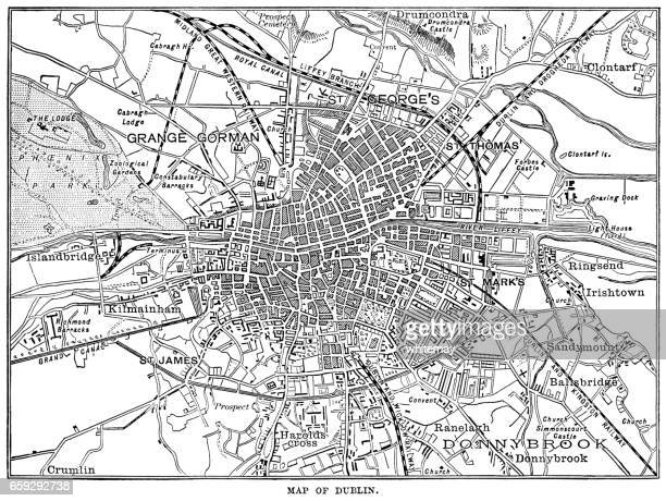 Mid-nineteenth century map of Dublin, Ireland