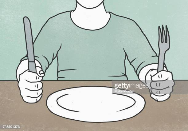 midsection of man holding fork and knife at table - social grace stock illustrations