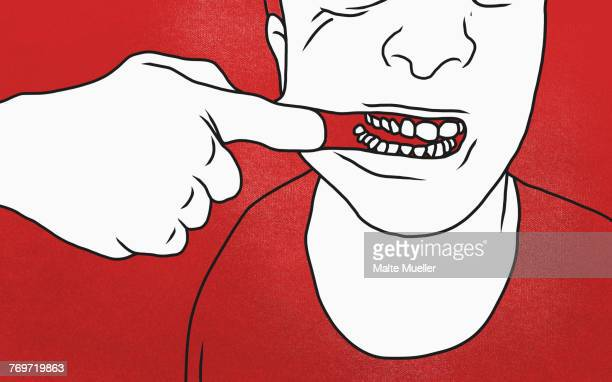 midsection of man pulling mouth against red background - illustration technique stock illustrations