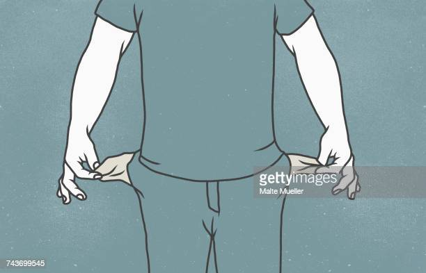 ilustrações, clipart, desenhos animados e ícones de midsection of man with showing empty pockets against gray background - braço humano