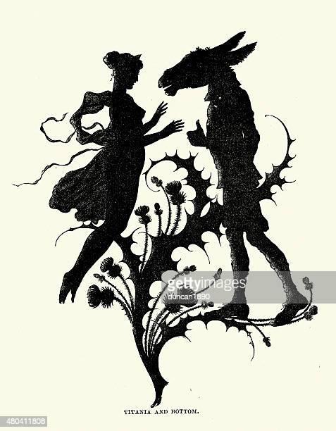 midsummer night's dream - silhouette of titania and bottom - fairy stock illustrations