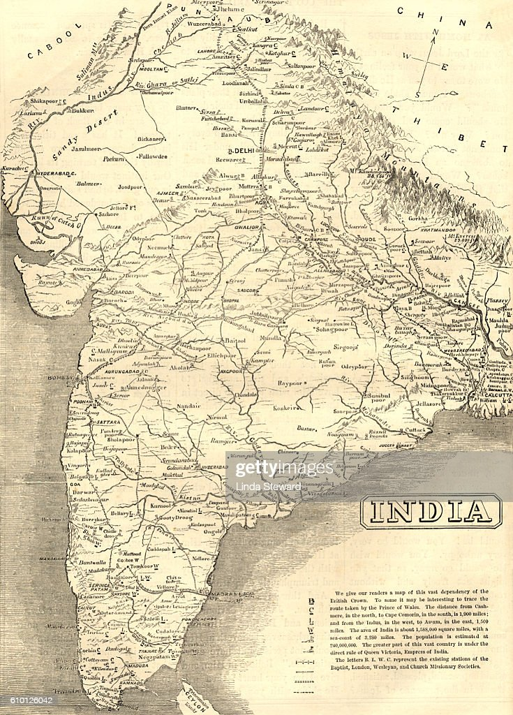 Midvictorian Map Of India Stock Illustration Getty Images - Victorian world map