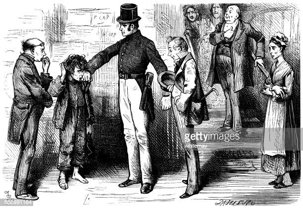 Mid-Victorian (c1857) policeman questioning a young offender