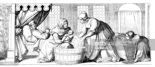 Midwife bathing newborn after birth in medieval