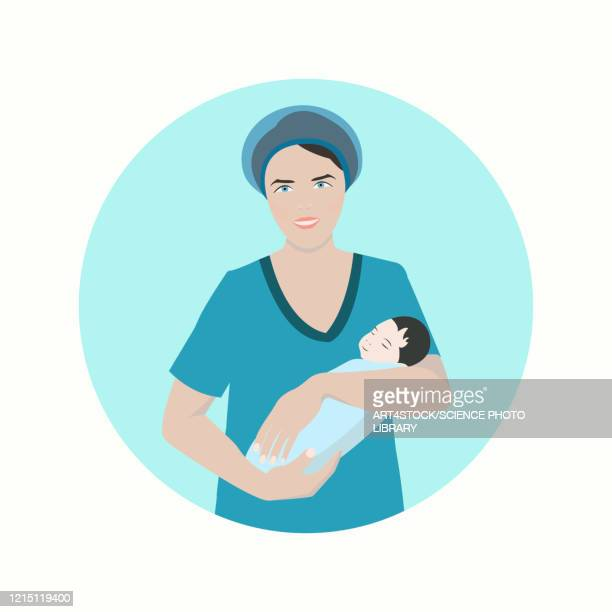 midwife with a newborn baby, illustration - uniform stock illustrations