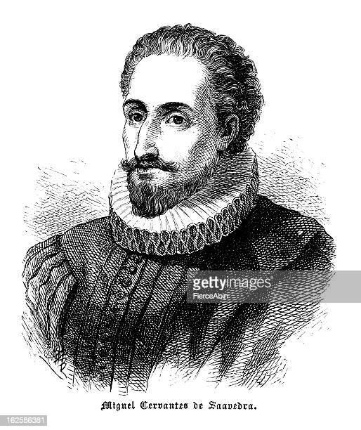 Miguel Cervantes - Antique Engraved Portrait