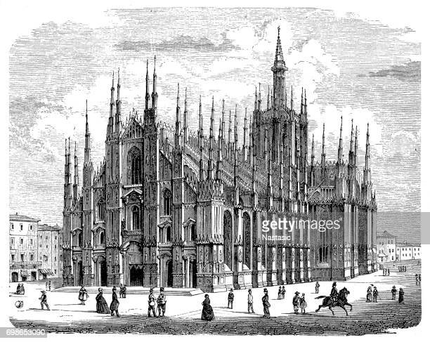 milan cathedral ,duomo di milano - milan stock illustrations, clip art, cartoons, & icons