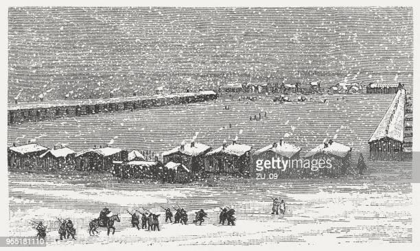 ilustraciones, imágenes clip art, dibujos animados e iconos de stock de invierno de miles de los cuartos en el congelado río de lengua (montana), 1876/77 - indios americanos sioux