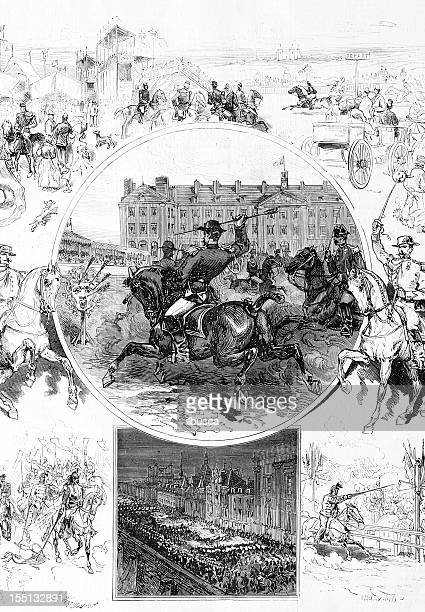military celebration in the school of saumur - cavalier cavalry stock illustrations, clip art, cartoons, & icons