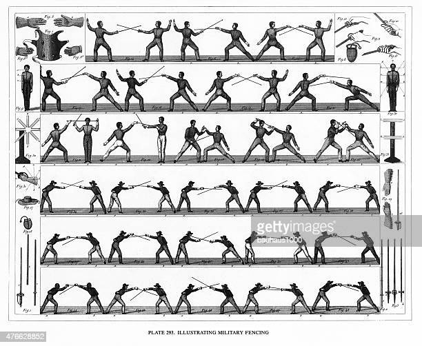 military fencing techniques engraving - army helmet stock illustrations, clip art, cartoons, & icons