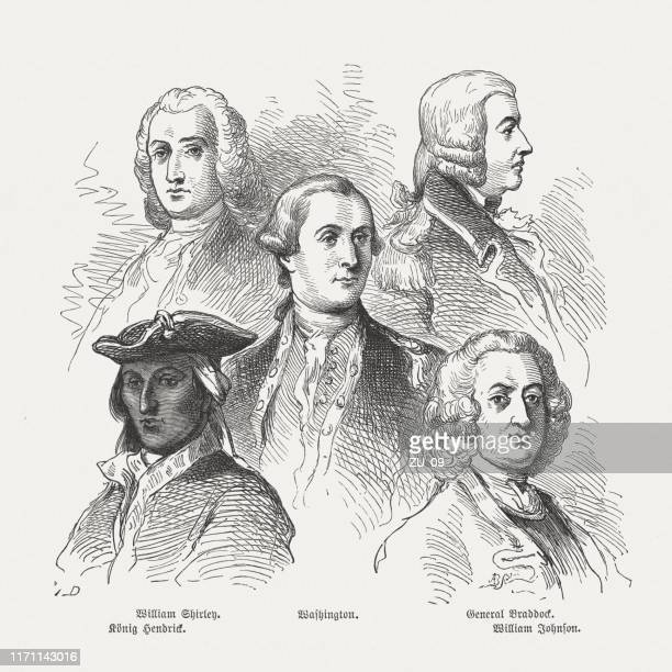 military leaders of french and indian war in north america - mohawk stock illustrations