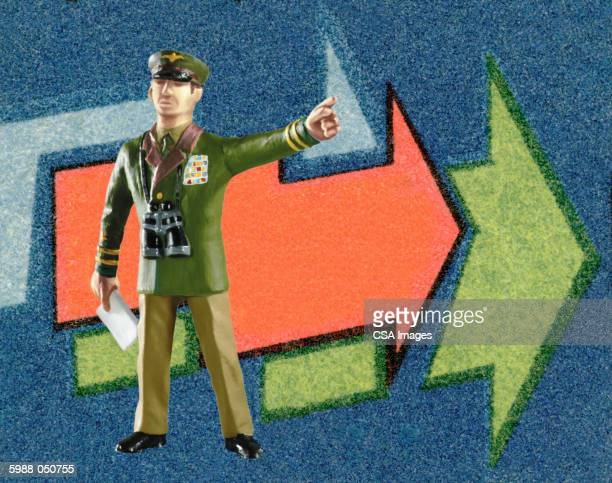 military man pointing - military uniform stock illustrations
