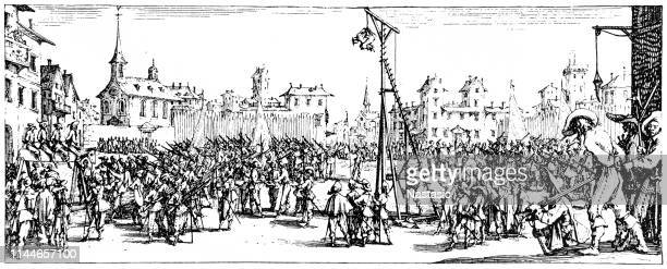 Military penalties in the Thirty Years' War: The Strappado, used as public punishment