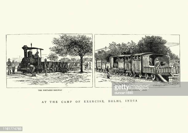 military portable railway and armoured train, 19th century - rail freight stock illustrations, clip art, cartoons, & icons