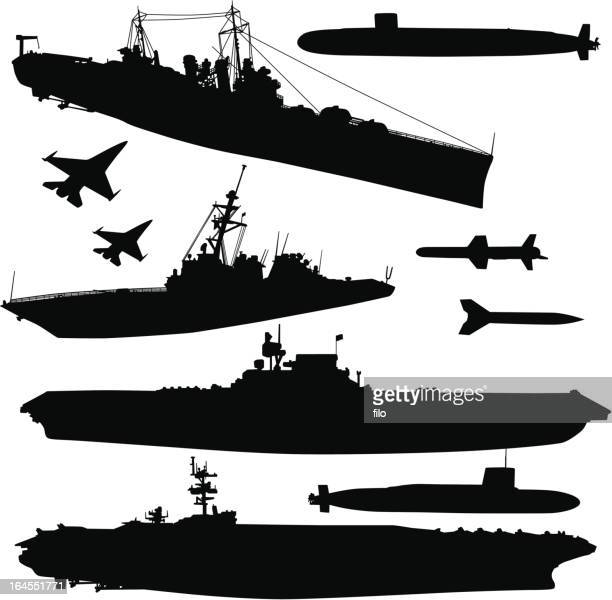 military ships and elements - world war ii stock illustrations